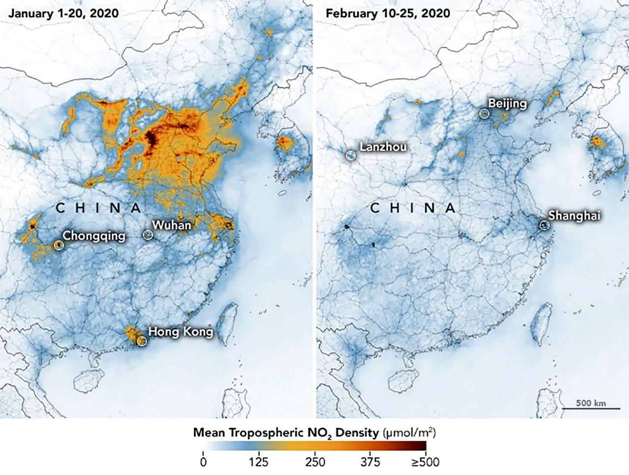 سطح دی اکسید نیتروژن در جو چین