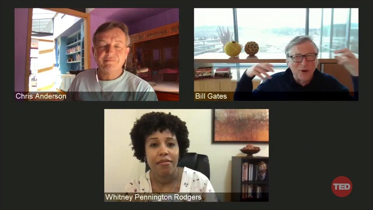 ویتنی پنینگتون و کریس اندرسون، مدیران موسسه TED بیل گیتس