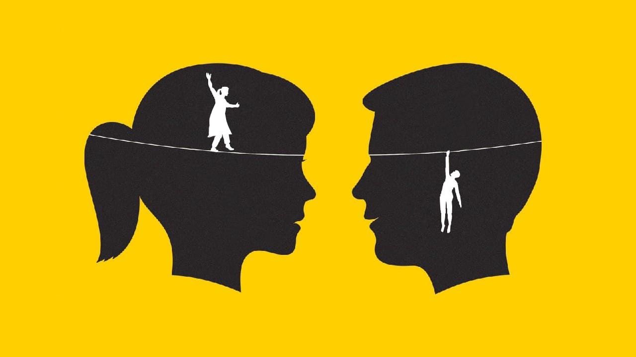 ماهنامه کی دبلیوسی kwcmag اعتماد به نفس تصویر گرافیکی مرد و زن و ذهن